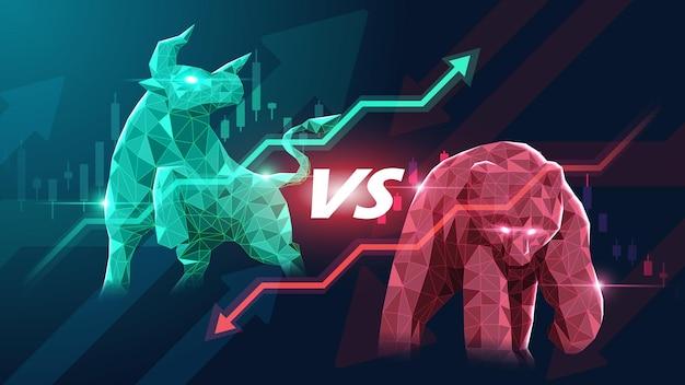 Концепт-арт бычьего и медвежьего фондового рынка в футуристической идее, подходящей для фондового маркетинга или финансовых инвестиций.