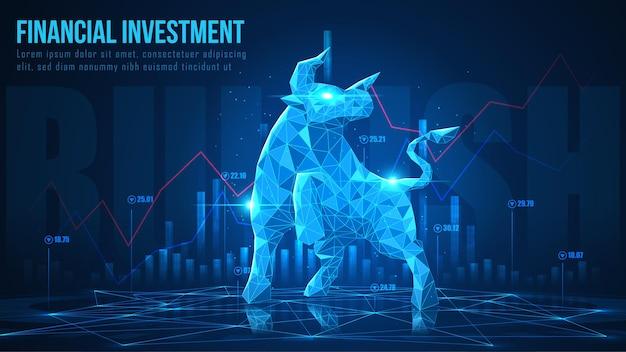 Концепт-арт бычьей в футуристической идее, подходящей для фондового маркетинга или финансовых инвестиций.