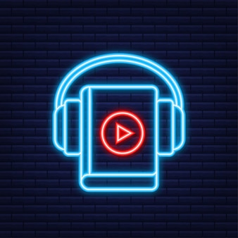Concept audio book for web page, banner, social media. neon style. vector illustration.