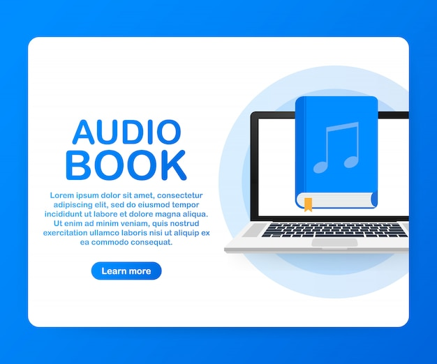 Concept audio book for web page, banner, social media.