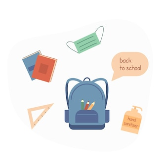 Concept for back to school after pandemia. student backpack with stationery, books, pencil, face mask and hand sanitizer. flat vector illustration isolated on white. vector illustration