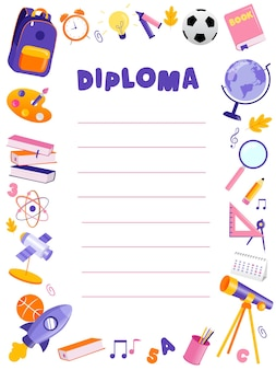 Concept of back to school and awards ceremony. beautiful colorful school or preschool diploma