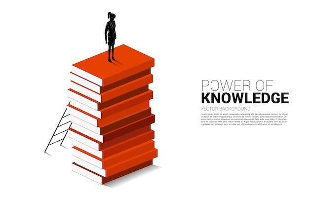 知識の力の概念の背景。はしごで本のスタックの一番上に移動する準備ができている実業家のシルエット。