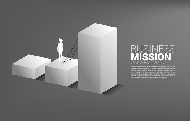 Concept background for power of knowledge. silhouette of businesswoman ready to move to top of book stack with ladder.