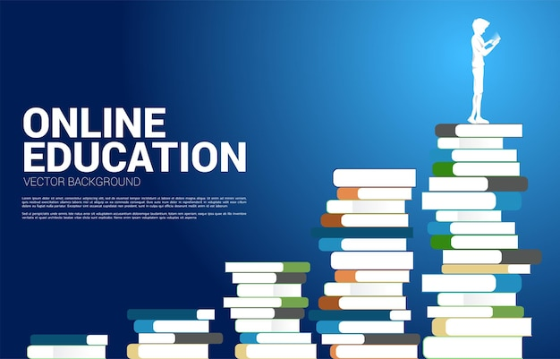 Concept background for power of knowledge. vector silhouette man use mobile phone standing on stack of books.