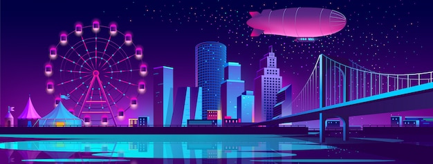 Concept background with night city