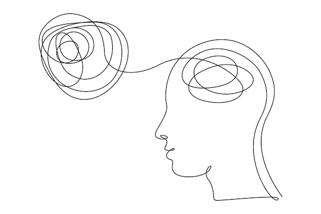 Concept of bad mental health. human head with confused feelings and thoughts in one line art style. continuous drawing illustration. abstract linear vector for banner, brochure, poster, presentation