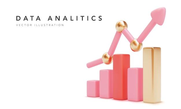 Анализ данных концептуального баннера. розовая стрелка прогресса роста. иллюстрация