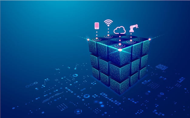 Concept of big data or data center graphic of futuristic cube with digital technology element