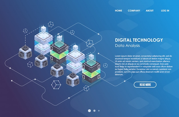 Concept of big data processing, isometric data center, vector information processing and storage. creative illustration with abstract geometric elements.