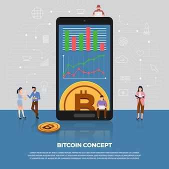 개념 bitcoin cryptocurrency. 그룹 사람들이 개발 아이콘 bitcoin 및 그래프 차트. 설명합니다.