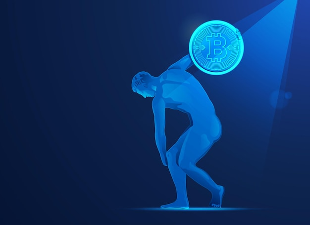 Concept of bitcoin investment in europe, graphic of discobolus going to throw bitcoin