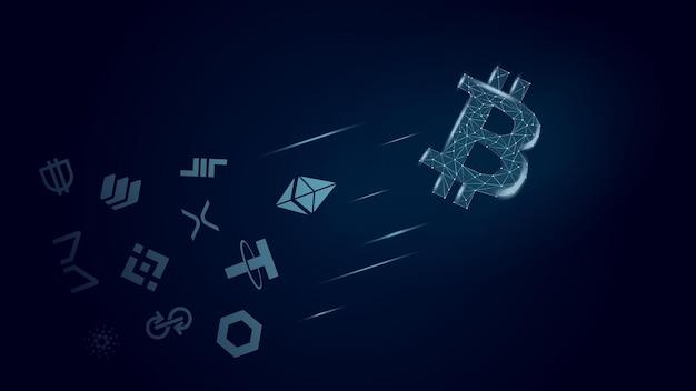 Концепция биткойн летит вперед альткойнов. лидер криптовалют перед другими монетами. векторная иллюстрация.