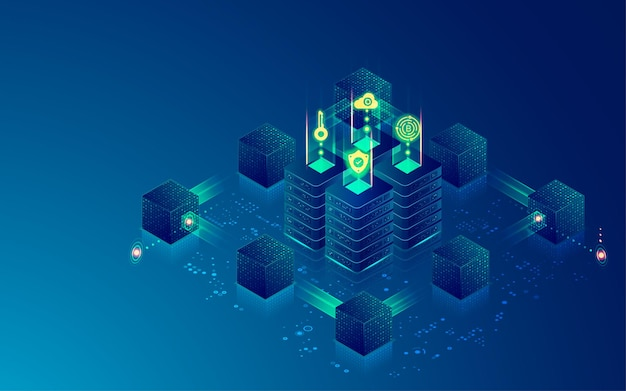 Concept of block chain technology or data center, graphic of computer server surrounded by futuristic cube