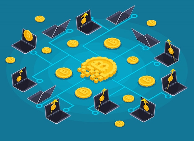 Concept of the blockchain infographic concept, cryptocurrency mining, startup project  illustration