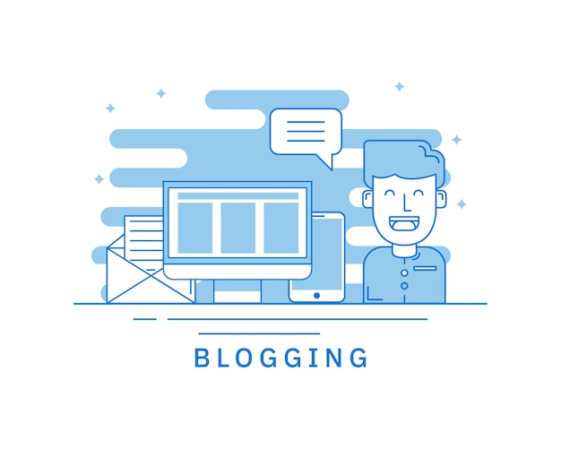 Concept of blogging for web page concept