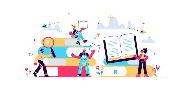 Концепция книжного фестиваля плакат, иллюстрация квартира, маленький персонаж, чтение книги, обучение образованию, чтение книг в библиотеке и в классе, обучение в университете, онлайн-курсы.