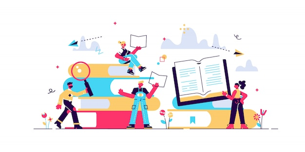 Concept book festival poster, illustration flat, small character reading a book, learning education, reading books in the library and in the classroom, university studies, online courses.