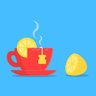 Concept breakfast cup tea with slice lemon