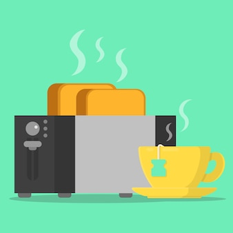 Concept breakfast toaster with beard toast and cup tea