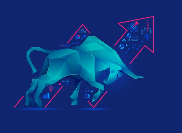 Concept of bullish in stock market exchange, graphic of low poly bull with increasing graph