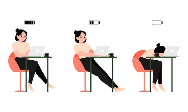 コンセプトバーンアウト働く女性や学生がテーブルとノートパソコン、フル、ハーフ、ローバッテリーで座っています。疲れた従業員または学生。イラスト幸せ、退屈、疲れの女性会社員