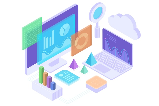 Концепция бизнес-аналитики, стратегия данных финансовых графиков или диаграмм. изометрический