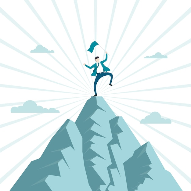 Concept of business financial success. businessman climb up to holds flags jumping on top of mountain celebrating their success. symbol, achievement, ambition, leadership. vector illustration flat