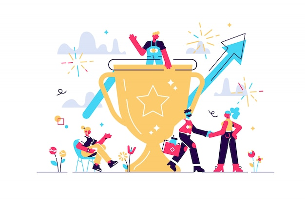 Concept business growth with executive team team victory . illustration, successful people team winners, golden cup