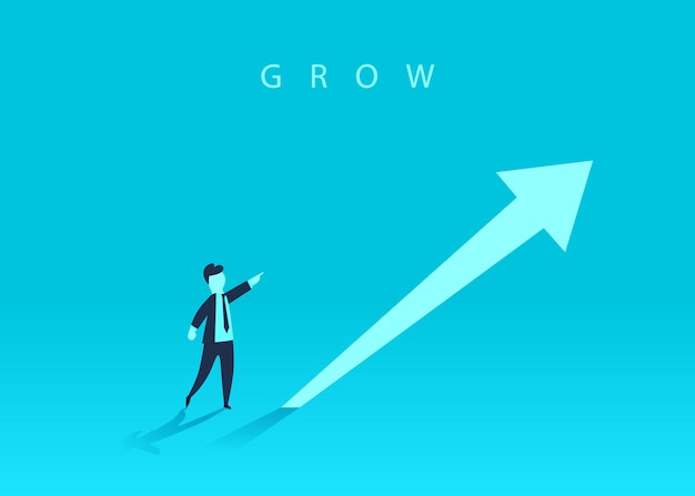 Concept of business growth with an upward arrow and a businessman showing the direction