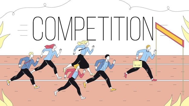 Concept of business marketing strategies, teamwork and competition. metaphor of business challenge of running business people group to the goal. cartoon linear outline flat style. vector illustration.