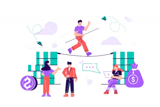 The concept of business motivation and ambition, the business team overcomes obstacles and achieves success in the financial sphere. flat style modern design  illustration for web page, cards
