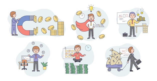 Concept of business success, attract money. set of happy young businessmen, attracting money by different ways. successful male character is getting a profit. cartoon flat style.