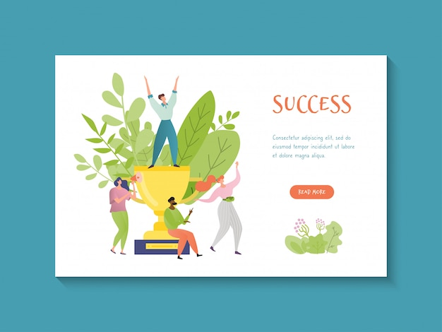 Concept business success, colorful website template with inscription success, design, cartoon style illustration.