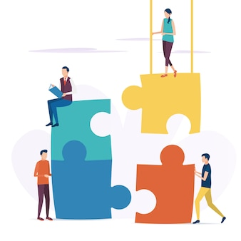 The concept of business teamwork.  vector illustration in flat style.