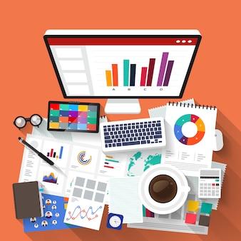 Concept businessman analysis digital data.  illustrate