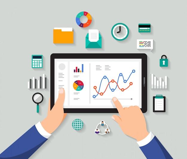 Концепция бизнесмен анализ цифровых данных. иллюстрировать