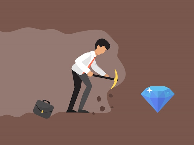 Concept of a businessman digging and mining to find diamond illustration.