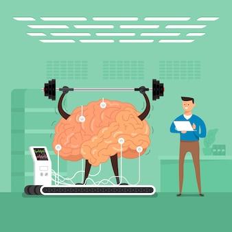 Концепция бизнесмен тренировки мозга в лабораториях. проиллюстрировать.