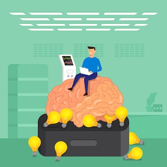 Concept businessman training brain in labs.  illustrate.