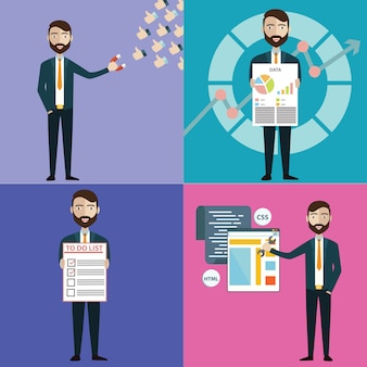Concept of businessman with task, multitasking, marketing, office work and colleges