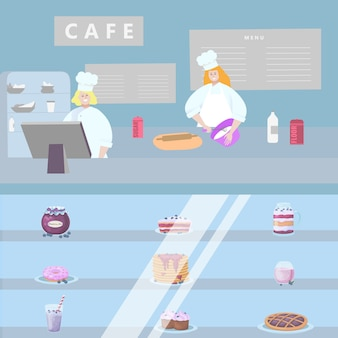 Concept cafe shop, character people prepare sweet, pastry boutique   illustration.  interior candy workshop.