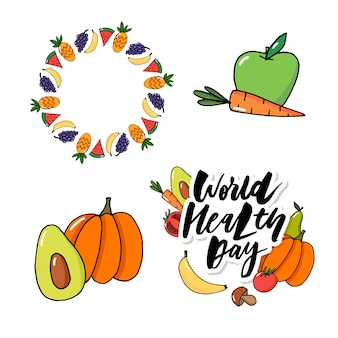 Concept card - world health day vegetables fruits