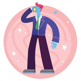 Concept cartoon character illustration of a businessman calling on his phone