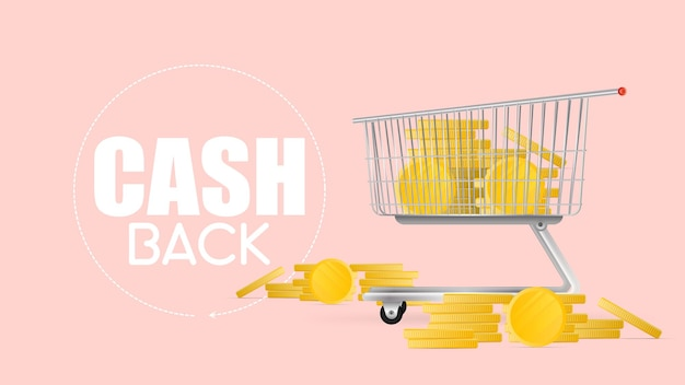 The concept of cashback and savings on purchases. the cart from the supermarket is filled with gold coins. shopping trolley, gold coins, money. vector.