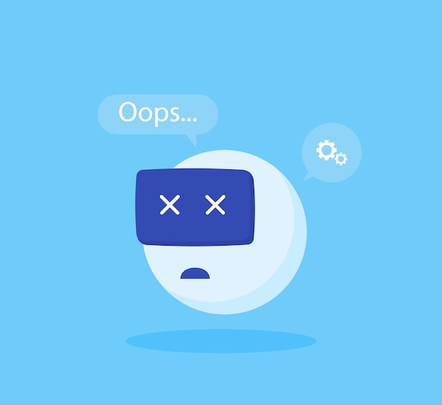 Concept chatbot error. modern flat style vector illustration