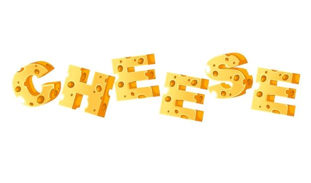 コンセプトチーズ単語フードスタイル文字白い背景の上のフラットベクトルイラスト。