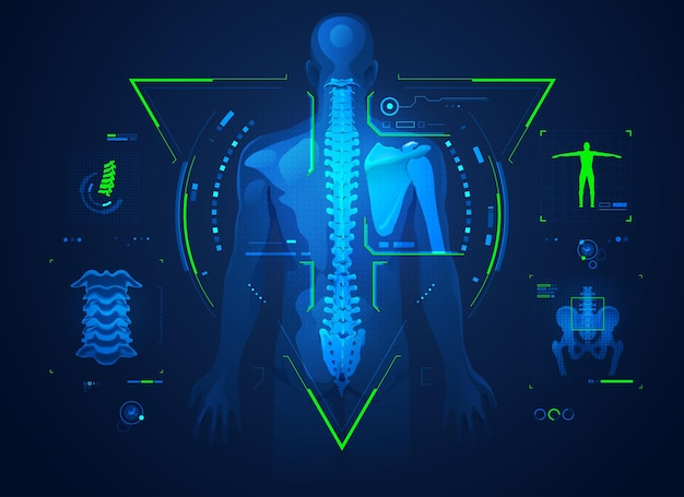 Concept of chiropractic technology or spine medical treatment, graphic of human back bone with x-ray interface