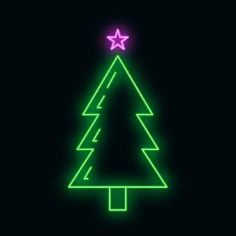 별 녹색 네온 광선 스타일, 새해 복 많이 받으세요, 메리 크리스마스 평면 벡터 일러스트와 함께 개념 크리스마스 전나무 트리 아이콘, 검정에 격리. 크리스마스 휴가 겨울 시간.