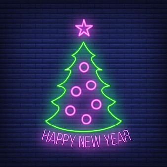 스타 그린 네온 글로우 스타일, 새해 복 많이 받으세요, 메리 크리스마스 플랫 벡터 삽화가 있는 개념 크리스마스 전나무 아이콘은 벽돌색으로 분리되어 있습니다. 크리스마스 휴가 겨울 시간.